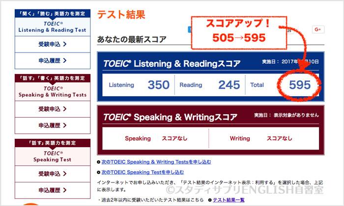 TOEIC試験結果595点