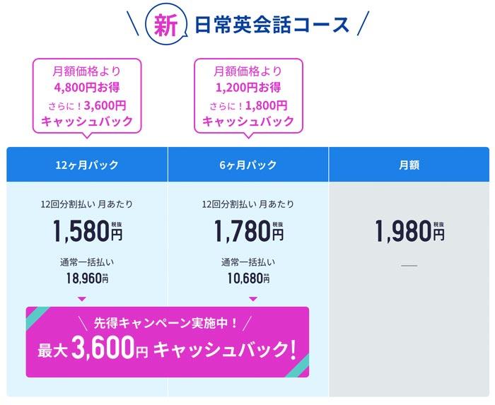 スタディサプリ新日常英会話キャンペーン料金